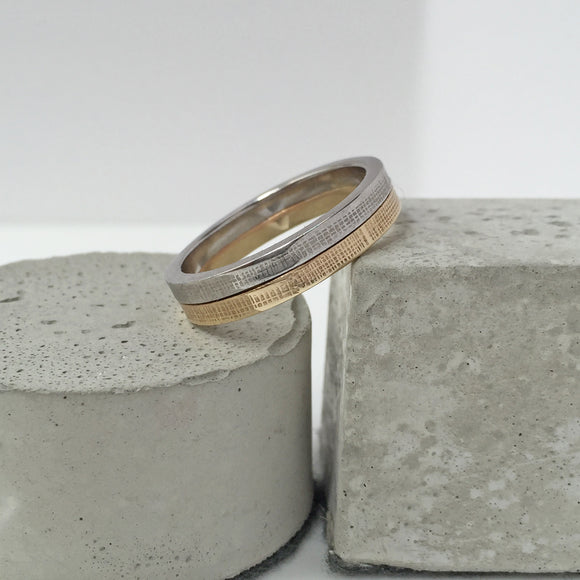 Mixed Gold Textured Wedding Band