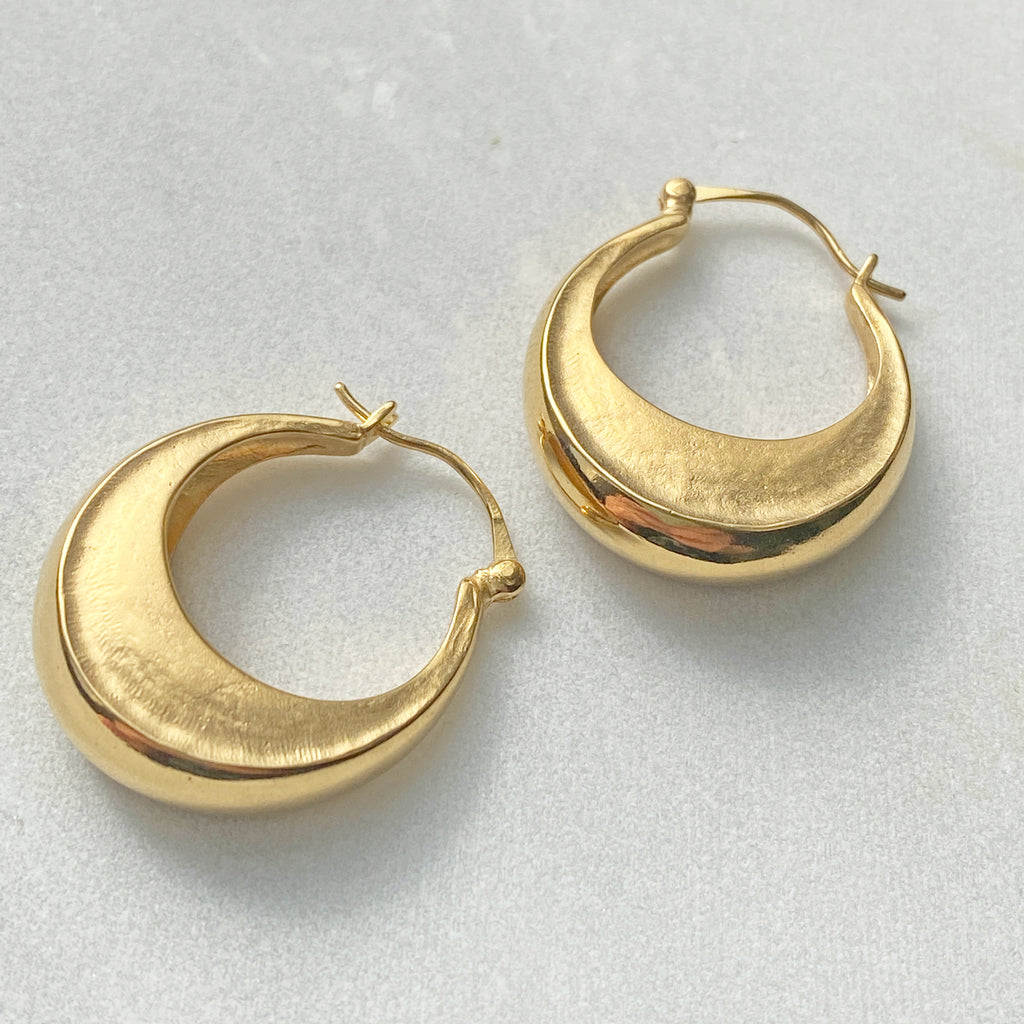 Crescent Moon Gold Hoops