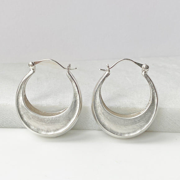 Crescent Moon Silver Hoops