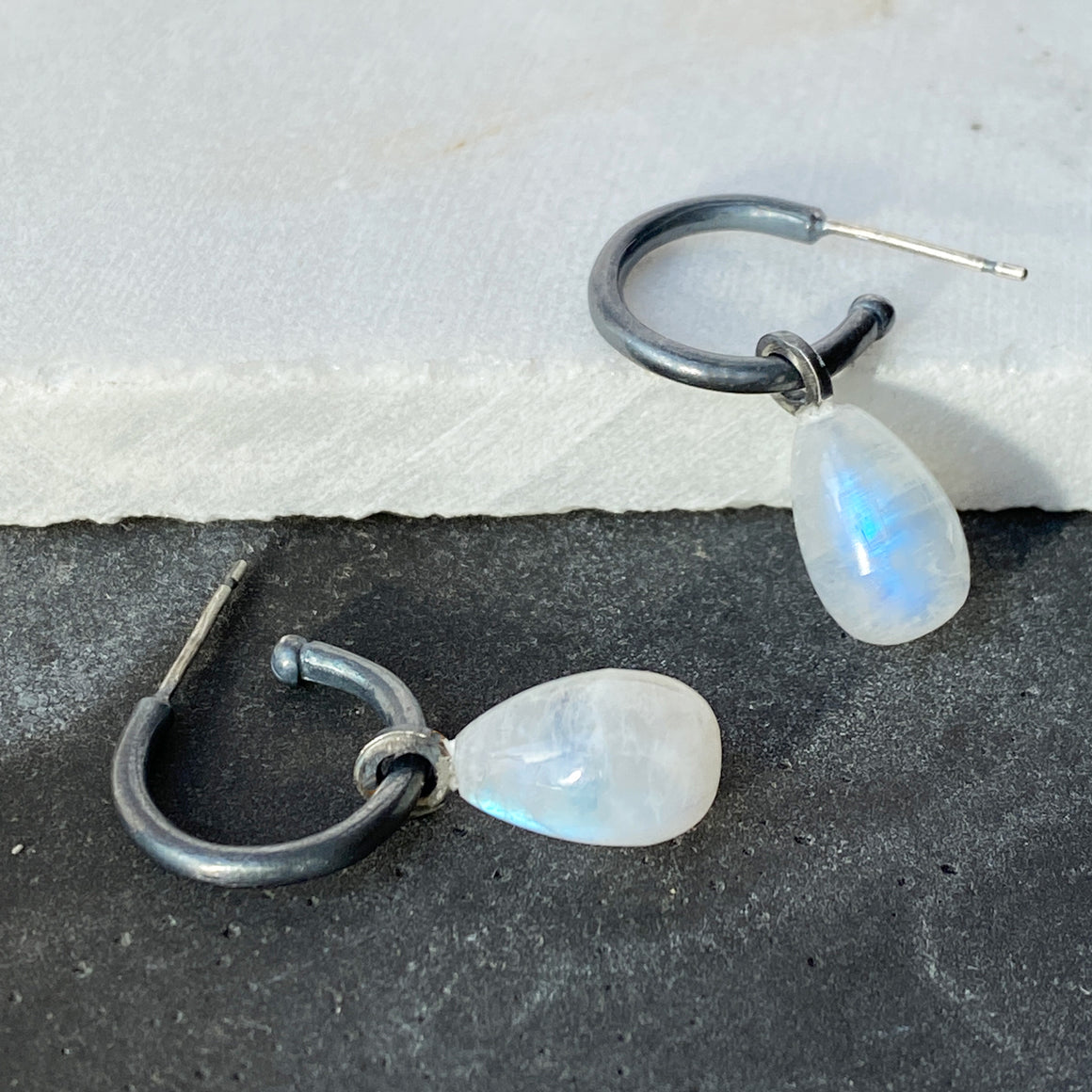 Rainbow Moonstone Hoops Oxidised Silver