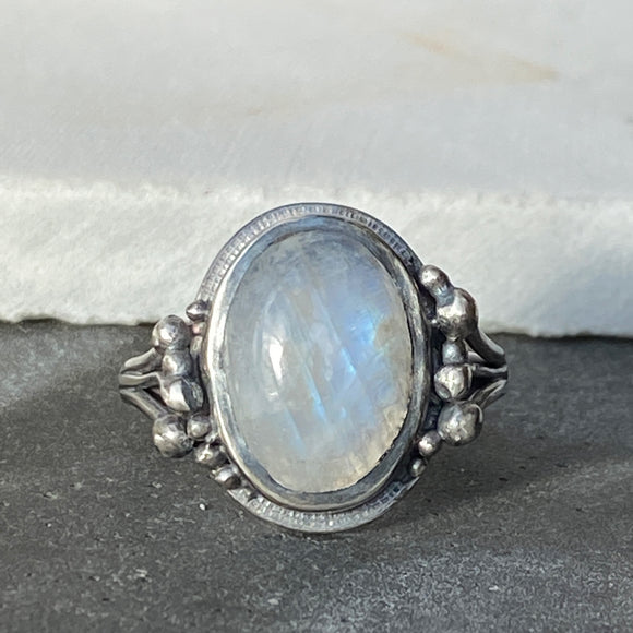 Rainbow Moonstone Bubble Ring