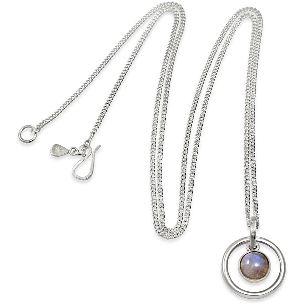 Orb Rainbow Moonstone Long Pendant in Silver