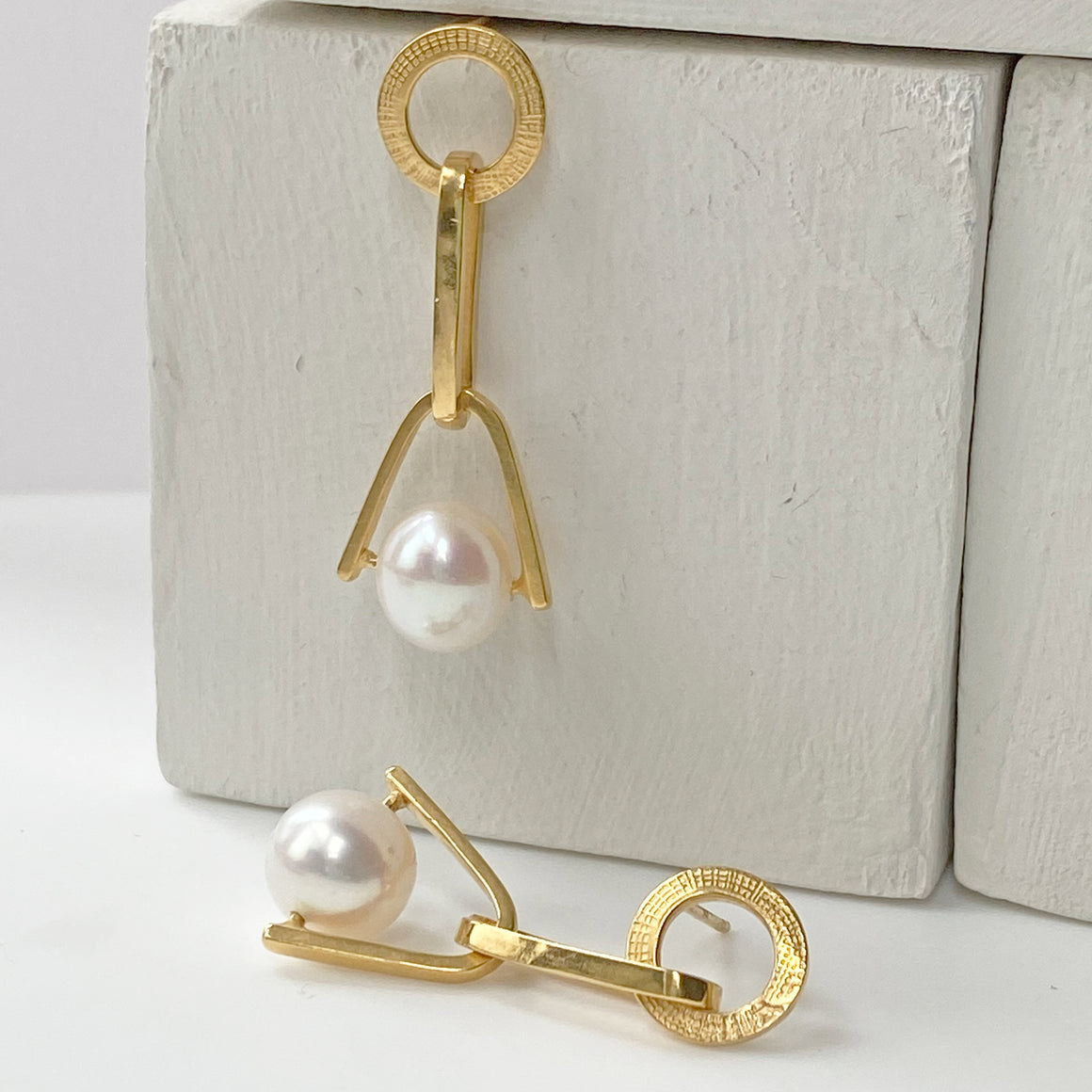 Pearl Chain Earrings Gold