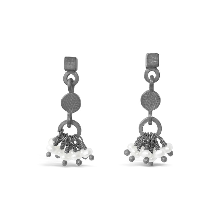 Pearl Drop Earrings Oxidised