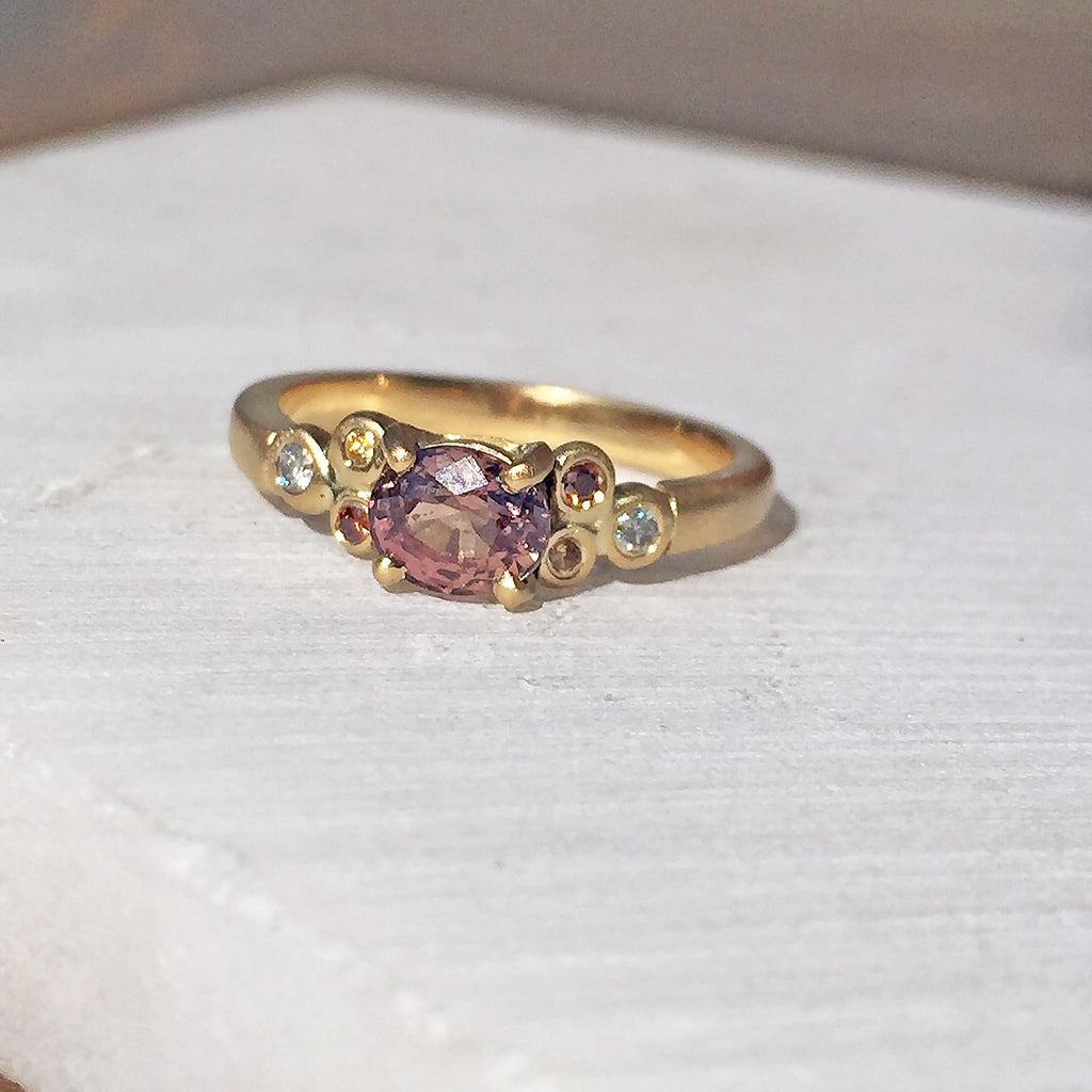 Peachy Rose Sapphire and Diamond Engagement Ring