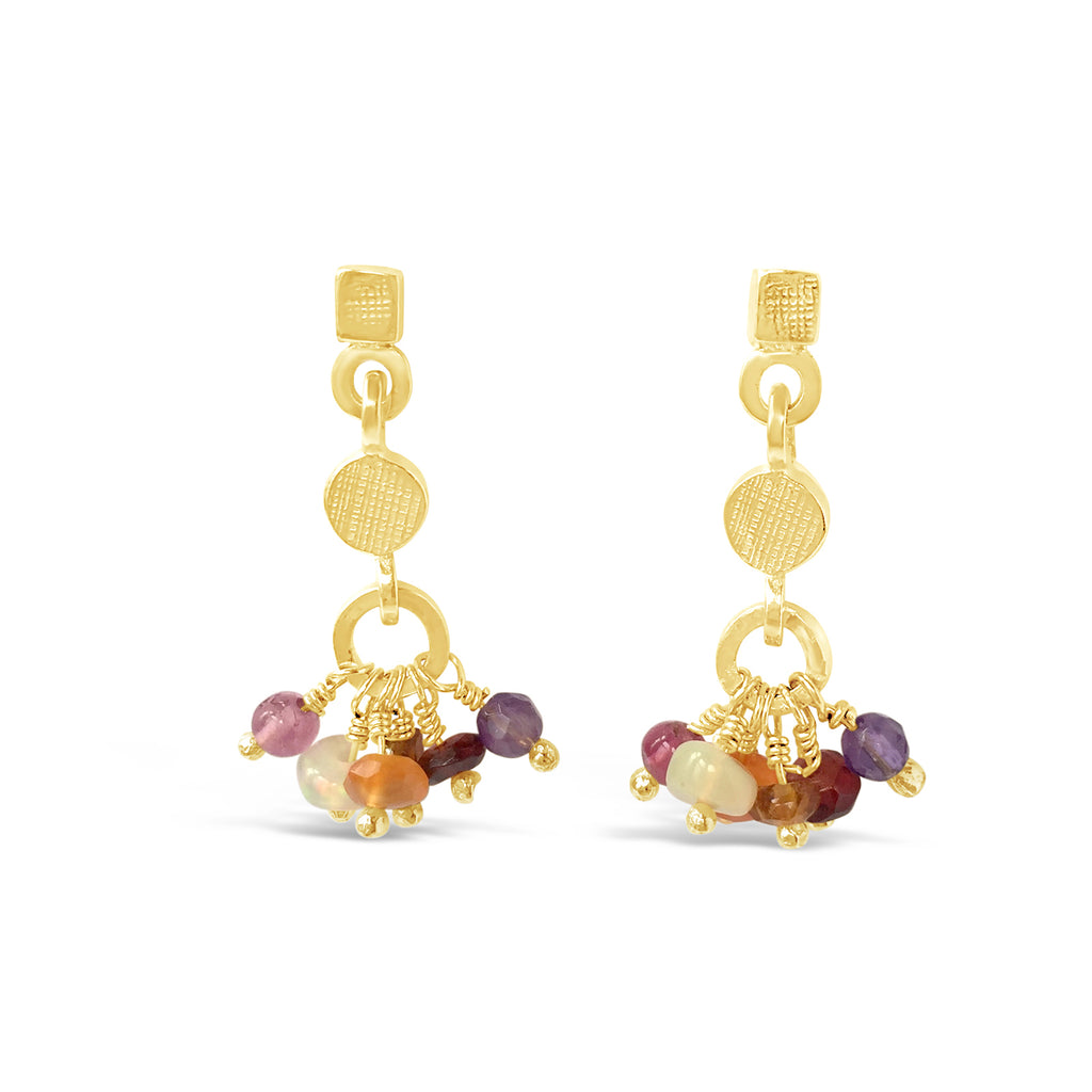 Gemstone Rainbow Earrings Reds Gold