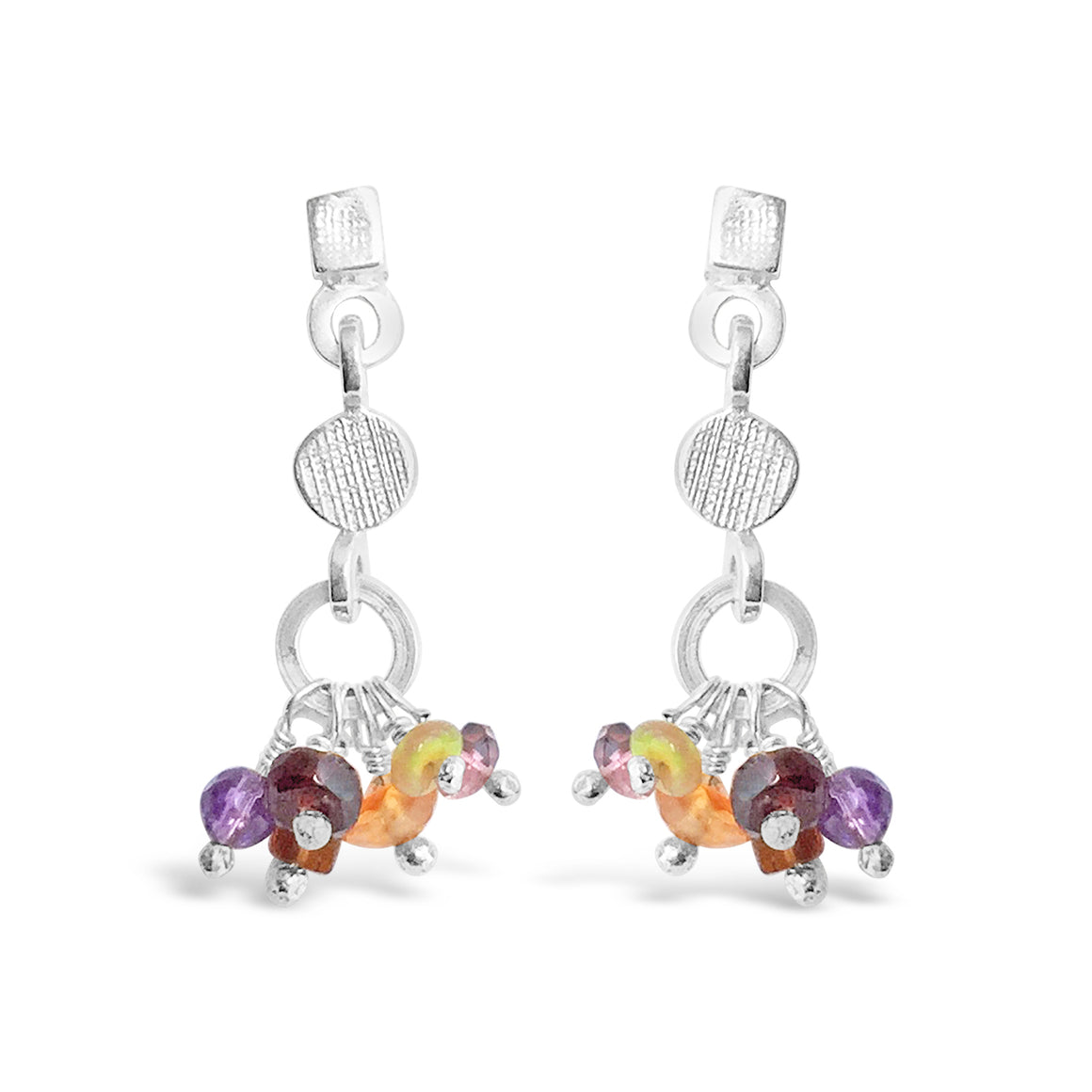 Gemstone Rainbow Earrings Reds Silver