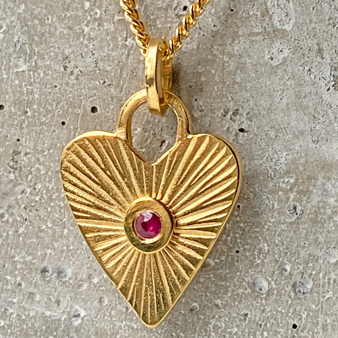 Ruby Heart Gold Pendant