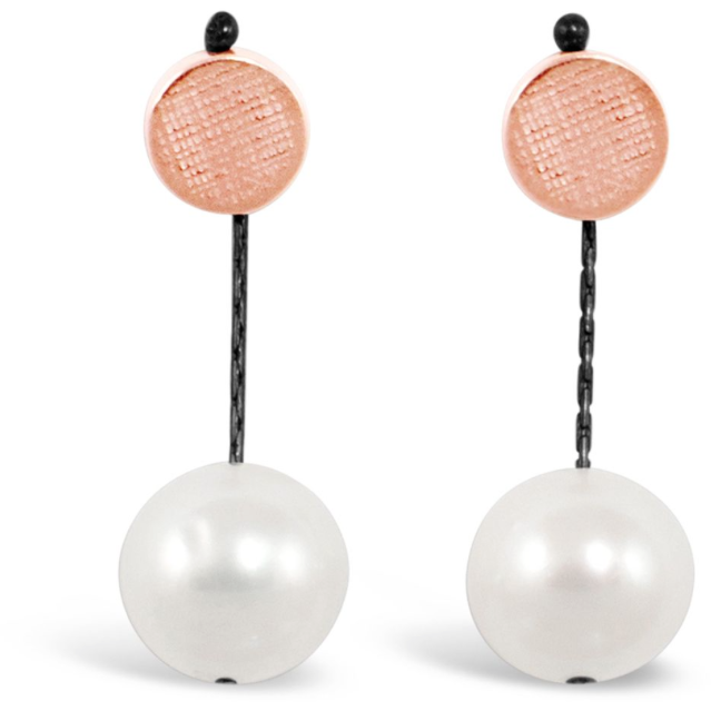 Dot Pearl Earring in Rose Gold