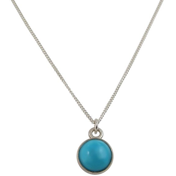 Birthstone Turquoise Silver Pendant December
