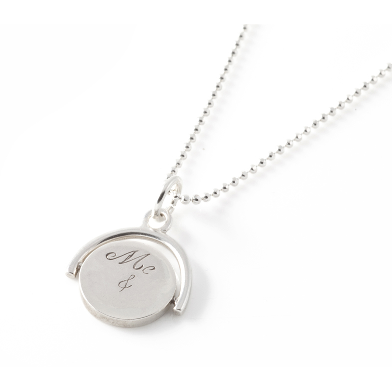 Me & You Spinning Pendant in Silver