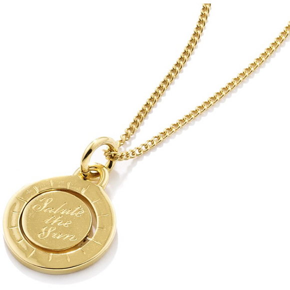 "Double Spinning ""Salute the Sun' Pendant in Gold"
