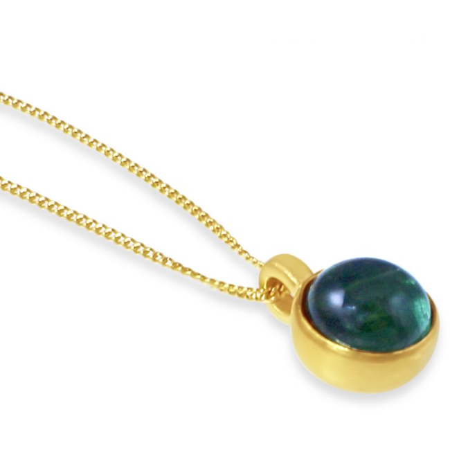 Birthstone Tourmaline Pendant Gold October
