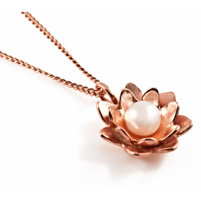 Lotus Flower Pendant in Rose Gold