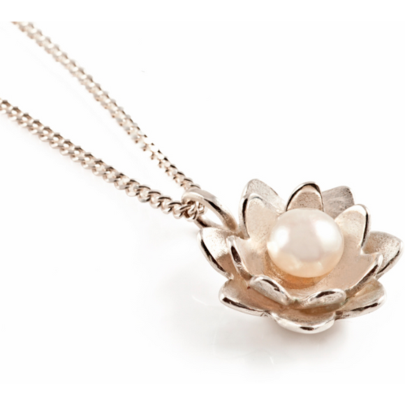 Lotus Flower Pendant in Silver