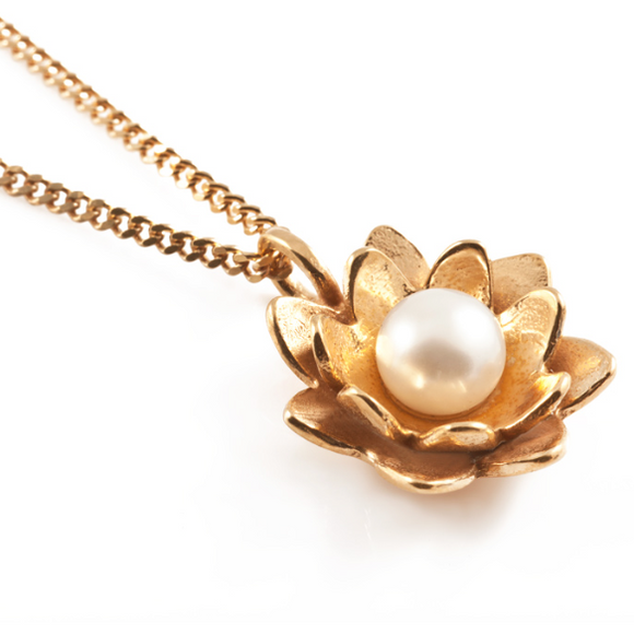 Lotus Flower Pendant in Gold