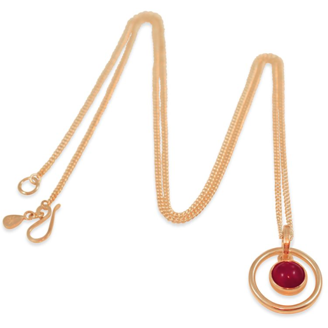 Orb Carnelian Long Pendant in Rose Gold