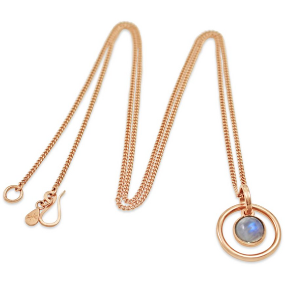 Orb Rainbow Moonstone Long Pendant in Rose Gold