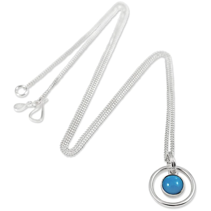 Orb Turquoise Long Pendant in Silver