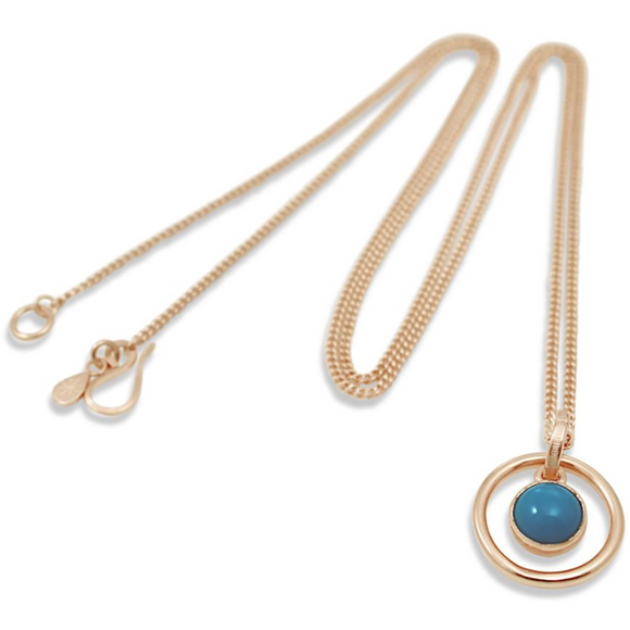 Orb Turquoise Long Rose Gold Pendant