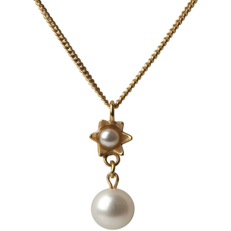 Pearl Star Pendant in Gold