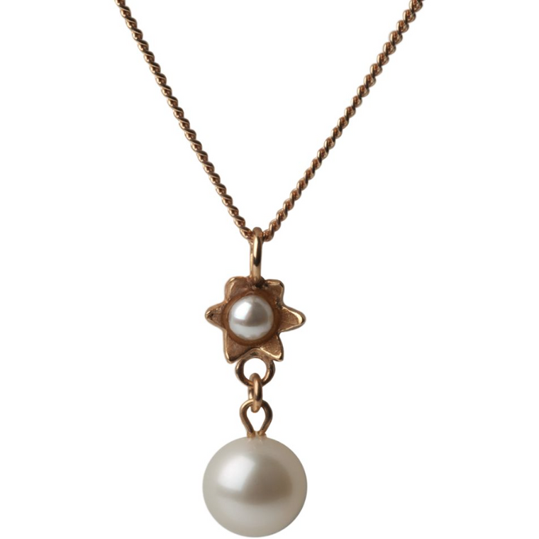 Pearl Star Pendant in Rose Gold