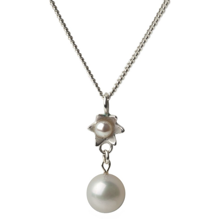 Pearl Star Drop Pendant in Silver
