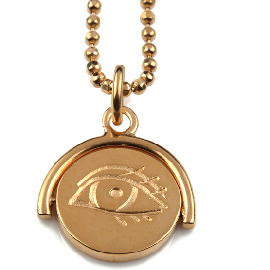Winking Eye Spinning Pendant in Gold