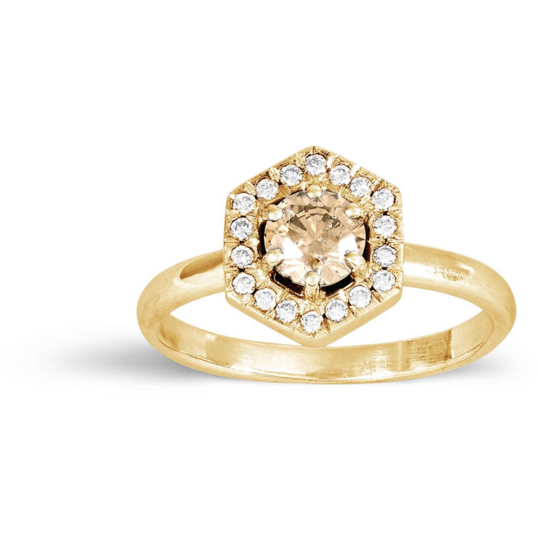 Hexagonal Diamond Ring in Gold