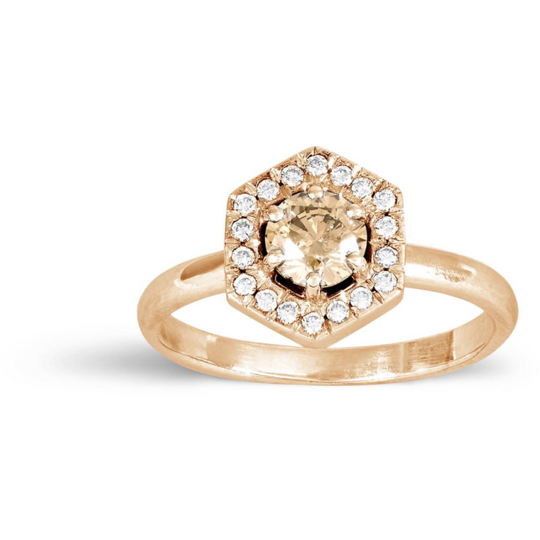 Hexagonal Diamond Ring in Rose Gold
