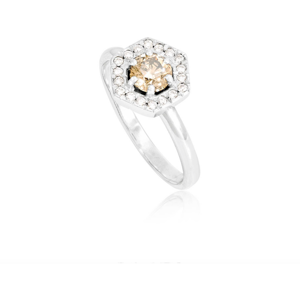 Hexagonal Diamond Ring in White Gold