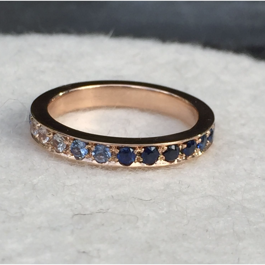 Blue Sapphire Eternity Ring in Rose Gold