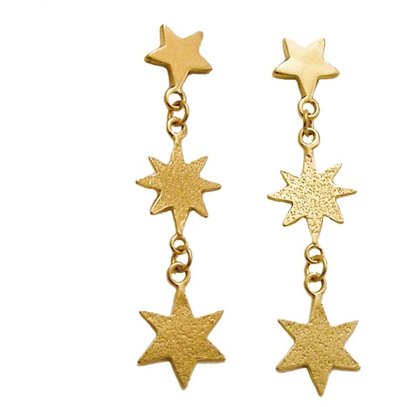 Star Drop Earrings in Gold