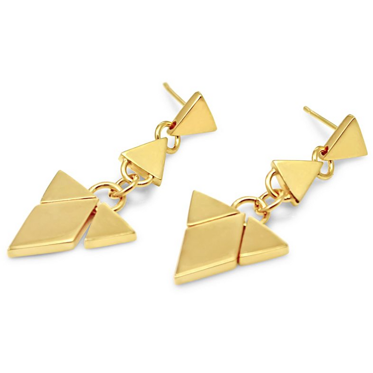 Diamond Triangle Chandelier Earrings in Gold