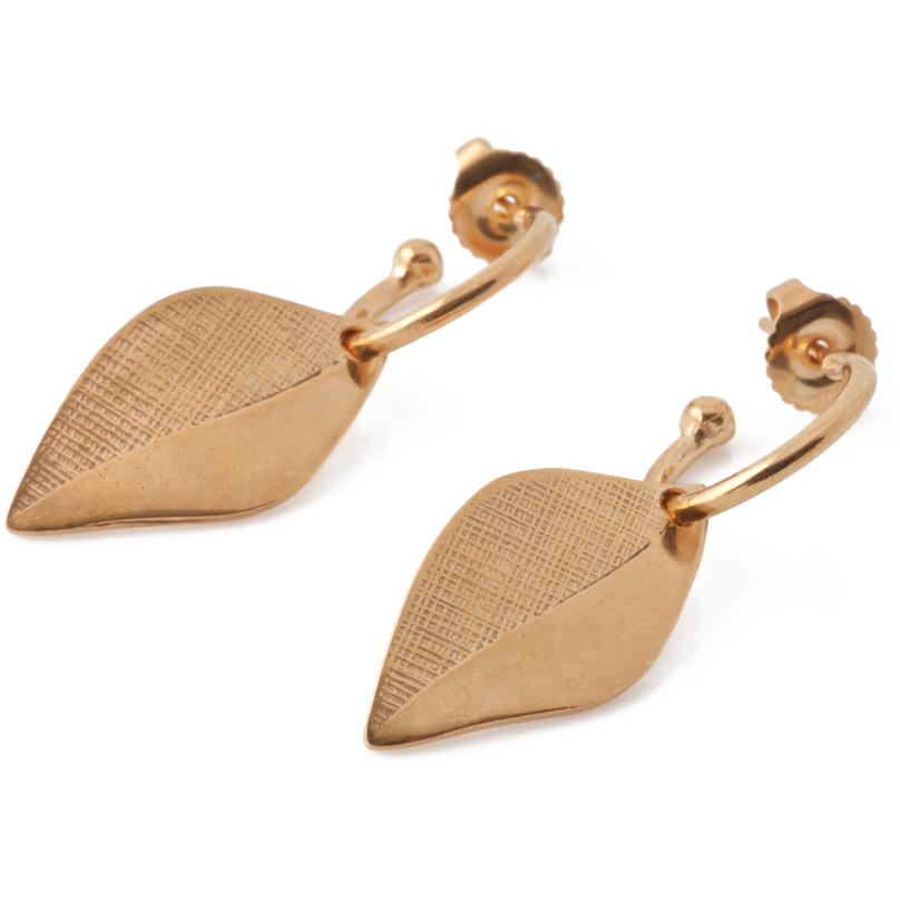 Leaf Hoop Earrings in Gold