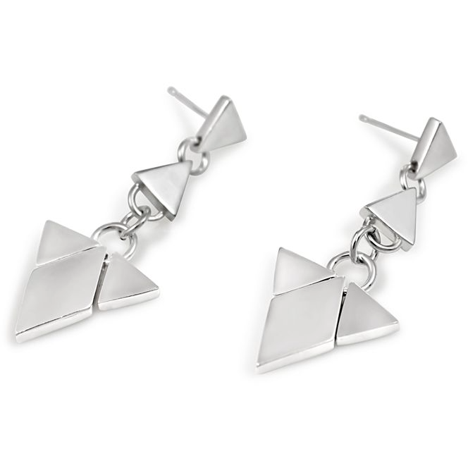 Diamond Triangle Chandelier Earrings in Silver