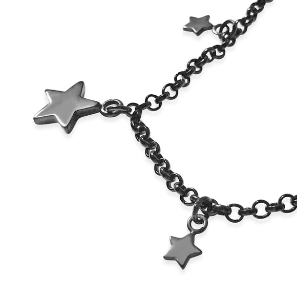 Star Charm Bracelet Black Ruthenium