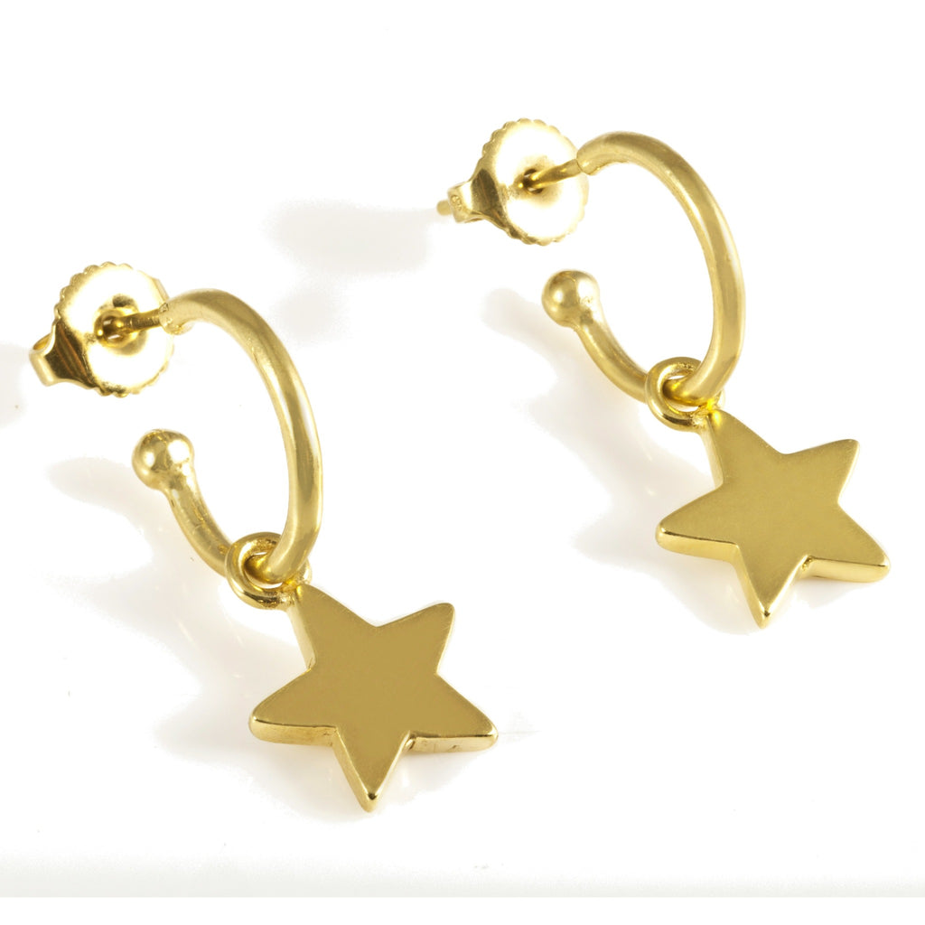 Stars on Hoops in Gold