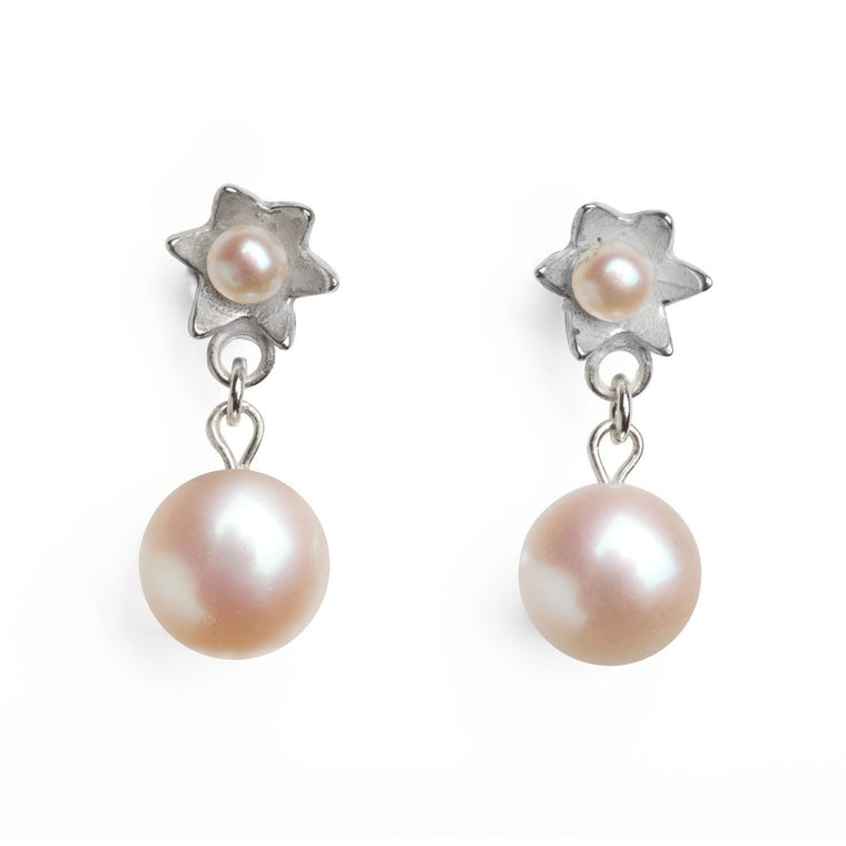 Pearl Star Earrings in Silver