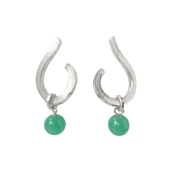 Swirl Hoops with Chrysoprase Silver