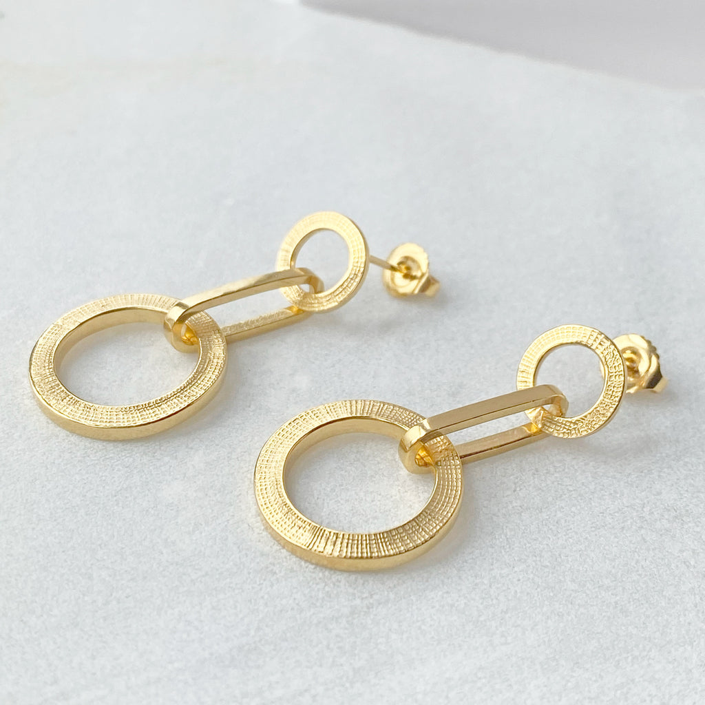 Textured Chain Earrings Gold