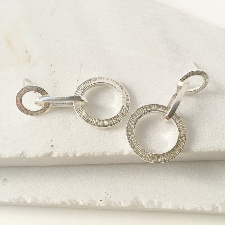 Textured Chain Earrings Silver