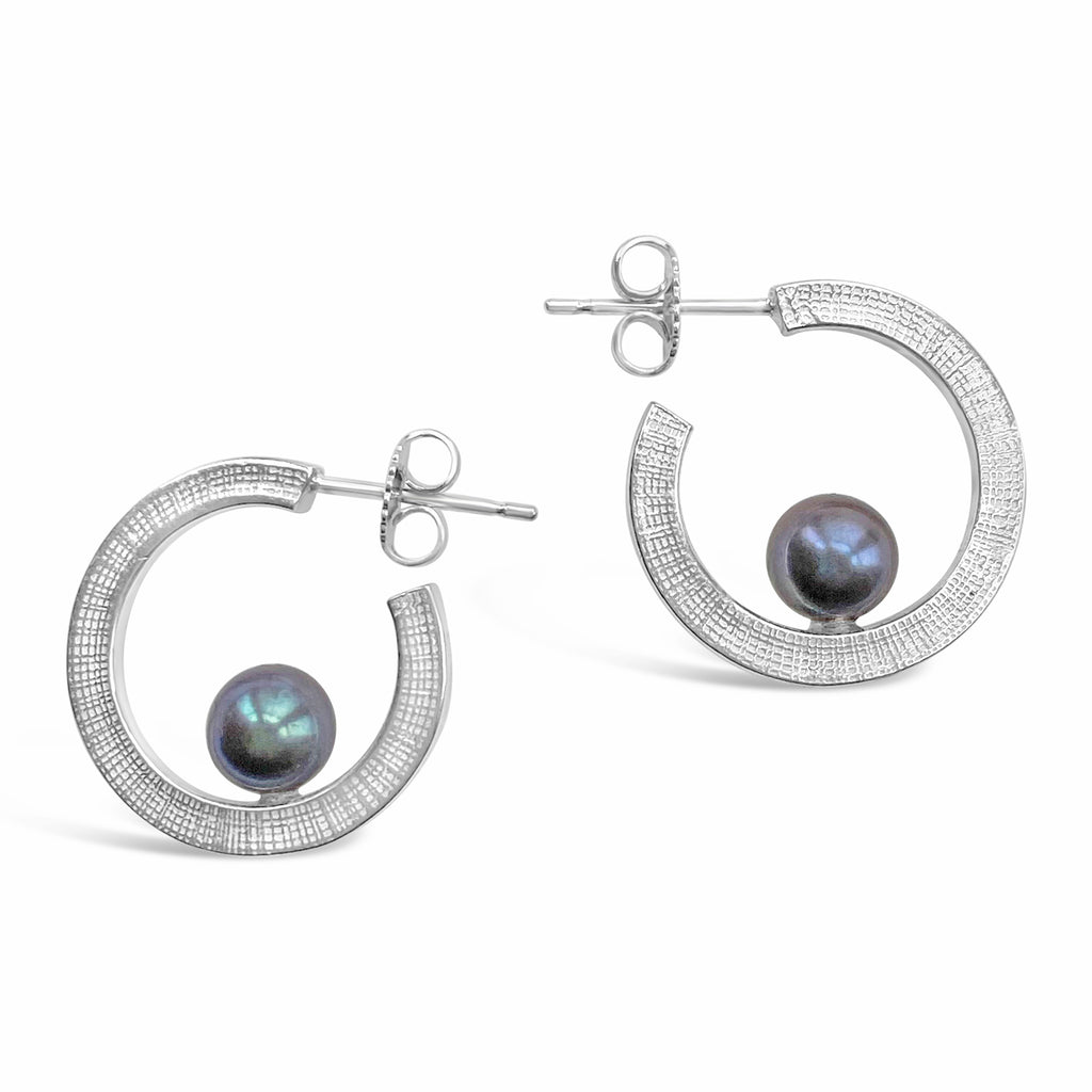 Greay Pearl Hoop Earrings