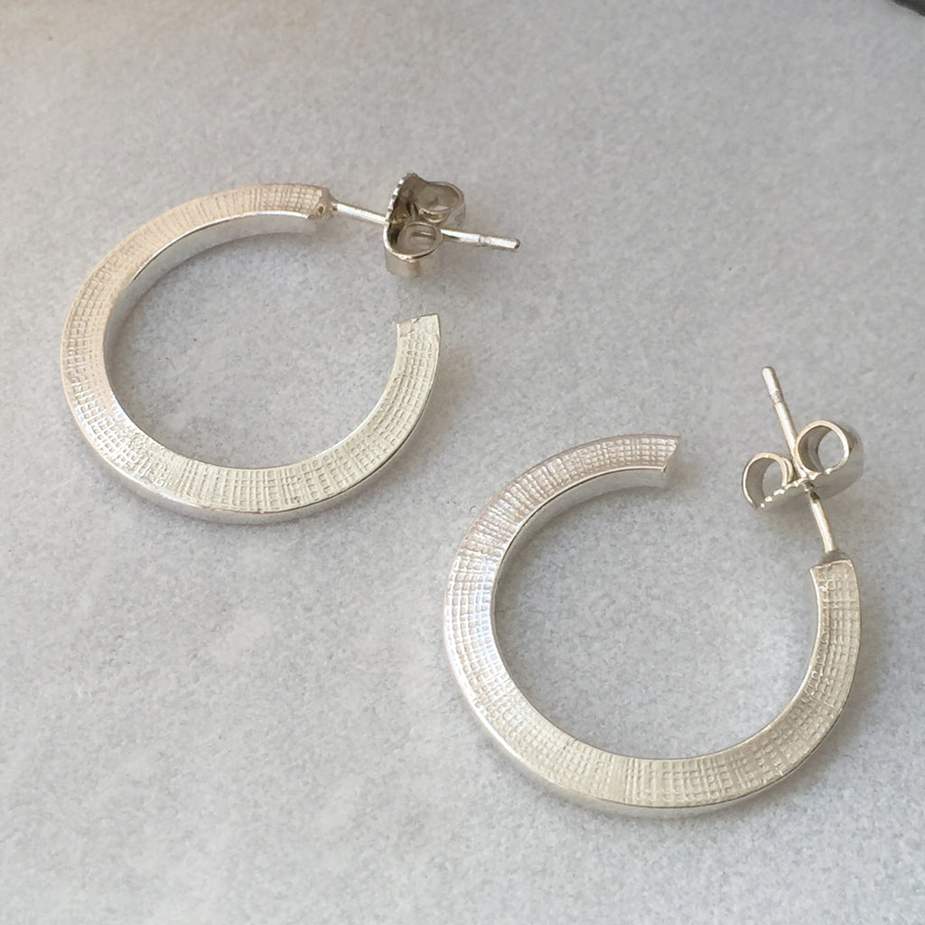 Textured Silver Hoops
