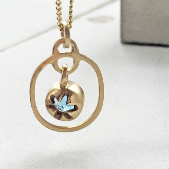 Blue Topaz Drop Pendant Gold