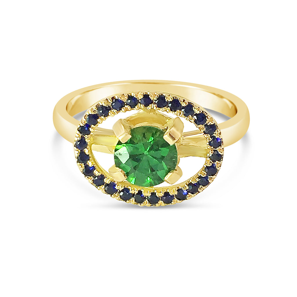 Tsavorite and Sapphire Engagement Ring