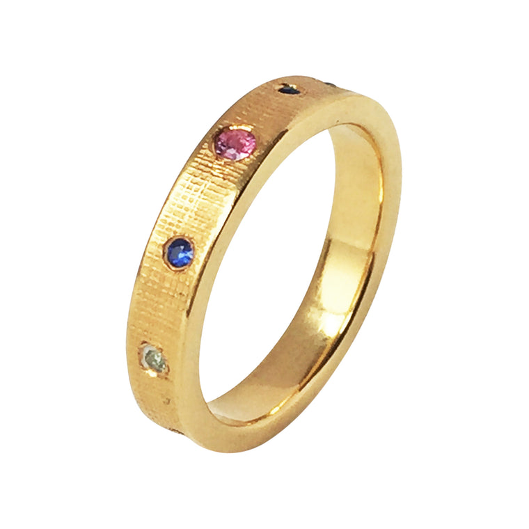 Wedding Eternity Ring With Mixed Sapphires