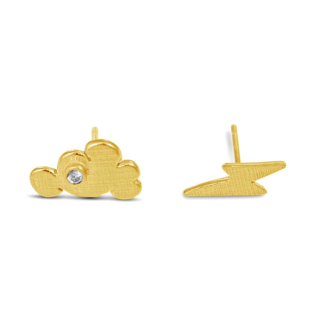 Cloud Lightning Earrings Gold
