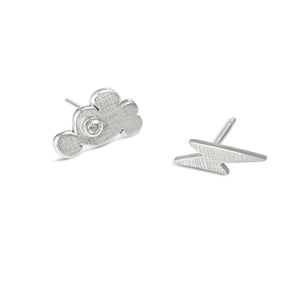 Cloud and Lightning Earrings Silver