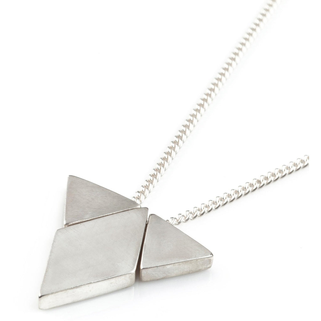 Diamond Triangle Pendant  in Silver